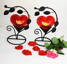 Pair of Single Big Heart Tea Light Candle Holder for Wedding / Home Decoration