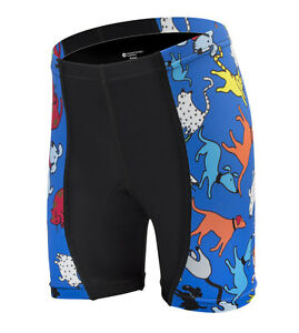 Childs Bike Shorts Kids Biking Padded Youth Short Childrens Blue Cats Dogs