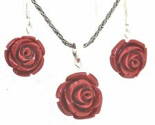 Coral Colour Rose Pendant & Earrings 925 Sterling Silver