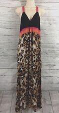Nicole Miller Maxi Dress Medium Black Pink Leopard Print Wild Cat Casual Style