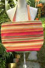 BEAUTIFUL RED MULTI CANVAS COTTON TOTE, BEACH SHOPPING BAG, LARGE, VINTAGE