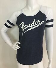 Lucky Brand New Fender Classic Logo Gray Baseball Style Top T-shirt  Tee L NWT