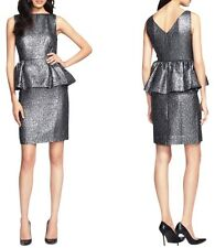 $448 Kate Spade Andi Silver Gunmetal Metallic Peplum Cocktail Short Dress 4 S
