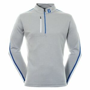 FootJoy Mens Golf Sleeve Stripe Chill Out Pullover Heather Grey/White/Royal