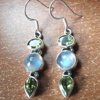 Faceted Peridot & Moonstone Triple-Gem 925 Sterling Silver Dangle Earrings