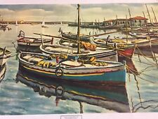 JOSE BERNAL OIL PAINTING ON Canvas SIGNED J.BERNAL Boats