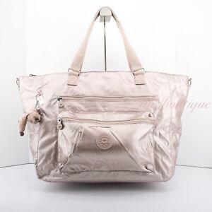 NWT New Kipling SL4831 ISAAC Extra Large Zip Tote Bag Polyamide Quartz Metallic