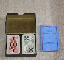 VINTAGE TWIN PACK OF SMALL PATIENCE CARDS - W.D. & H.O. WILLS - ABSTRACT DESIGN
