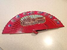 Vintage Ladies Folding FAn Hand Painted Wood and Fabric EUC Italy?  Intact NICE