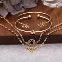 Women 4Pcs Leaf Knot Simple Adjustable Open Bangle Gold Bracelet Girls Jewelry