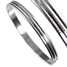 60MM RIBBED SILVER BANGLE BRACELET_#07-S__925 STERLING SILVER