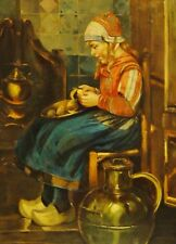 Van Hove (Hoven) - antico-dipinto: interni, Holland-ragazze pela patate