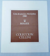 ROLEX CELLINI Vintage Price List 1980 España Spain Precios Prezzi Retail OEM