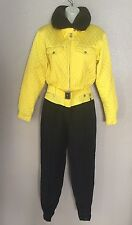 BOGNER Yellow Black Silky Quilted One-Piece Snow Ski Suit Fur Collar Sz 10 8 6