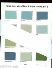 ROYAL NAVY  # 3  - WW2 Ship Color paint chip charts  - 2 sheets, 20 colors, new