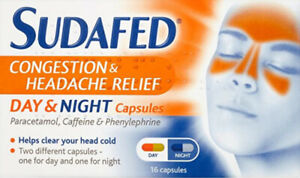 Sudafed congestion & Headache Relief Day & Night capsules 16