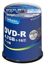 100 Verbatim Blank DVD Discs 4.7GB 16x Data DVD-R DHR47JP100V4