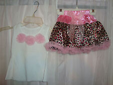 Baby Girl Leopard Print Tutu tulle Skirt and Tank Top Set-New (9-12 months)