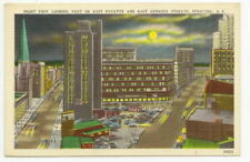SYRACUSE NY E Fayette & Genesee Streets Night Postcard