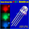 100PCS x 5mm 4 Pin Straw Hat Common Anode RGB Led Red/Green/Blue light 160-180