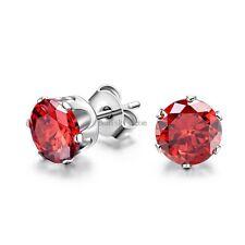 Round Cut 6mm Cubic Zirconia Charming Stainless Steel Stud Earrings Men's Ladies