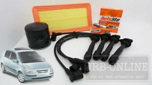 Hyundai Getz TB G4EC 1.5 L Air Oil Filter Spark Plugs Ignition Leads SERVICE KIT