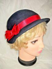 Vintage Hat Navy Blue Bonnet Red Ribbon Edith Neumann Endler Woman's Millinery
