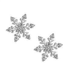 ZARD 925 Sterling Silver Cubic Zirconia Snow-Flake Flower Shape Stud Earrings