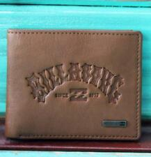 BILLABONG Mens Embossed Tan Brown LEATHER Bi-Fold with Flip Wallet Zip Coin