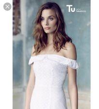 Beautiful Cotton White Bardot Schiffli Dress Bnwt sz 14 TU