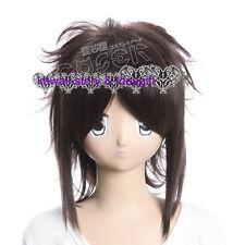 W-142 Naruto Shippuuden Sasuke cosplay peluca Wig calor fijo marrón Brown 40cm