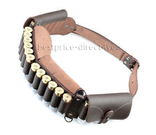 Real Split Leather Shotgun Shell Cartridge Belt Holder Bandolier -24 shells 12ga