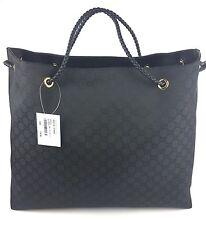 """Authentic New Gucci """"Gifford"""" GG  Black Nylon Canvas Tote #380118, ($729) NWT"""