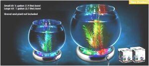 Glass BETA Fish Bowl Aquarium & Color Changing LED Light Base Complete Start Kit