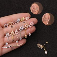 Zircon Pendant Ear Piercing Jewelry Steel Barbell Earrings Helix Cartilage Studs