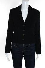 Chanel Boutique Black Shawl Collar Gold Tone Button Front Blazer Size Small