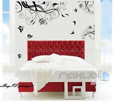 New Black Flower Vine Butterfly Home decor Removable Wall Decals Sticker Mural