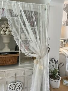 "Pretty Vintage Style White Lace Net Floral Curtains 86""d Shabby Chic"