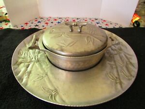 Vintage  Everlast Forged Aluminum  Bamboo Pattern  Small Casserole w/ Tray
