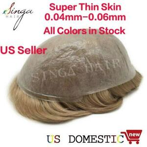 Invisible Ultra Thin Skin Mens Toupee Men Hair Replacement System Poly Hairpiece