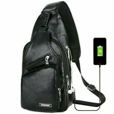 Mens' Black Leather Crossbody Bag Single Shoulder Bag USB Sports Chest Bag