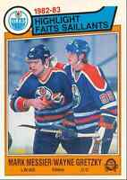 1983-84 O-Pee-Chee Mark Messier , Wayne Gretzky Edmonton Oilers #23
