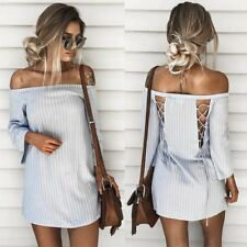 HOT Summer Women Sexy Off Shoulder Backless Splice Striped Bandage Mini Dress