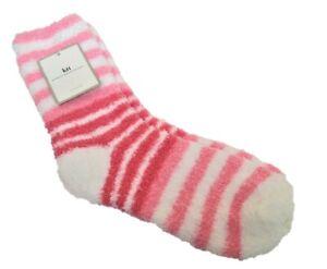 Karen Neuburger Ladies Slipper Socks Color Block Stripe Pink Petal White - NEW
