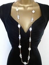 "Gorgeous 42"" Long Chain White Marbled Bead Necklace Dangle Drop Earring Set"