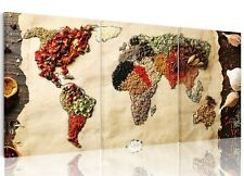 3 Panel Canvas World Globe Atlas Map Herbs Spices Food Planet Earth Kitchen
