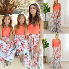 Mother Daughter Dress Sleeveless Casual Family Clothes Women Kid Girl Maxi Dress
