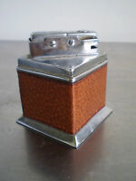 BRIQUET TABLE ART DECO CUIR MODERNISTE CHROME A GAZ LIGHTER 1930
