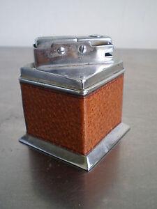 BRIQUET TABLE ART DECO CUIR MODERNISTE CHROME A GAZ LIGHTER 1930