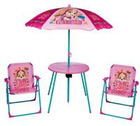 Kids Paw Patrol Pink Garden Picnic Chair Table & Parasol Sun Shade Umbrella Set